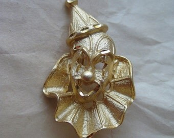 Clown Gold Brooch Vintage Pin Circus