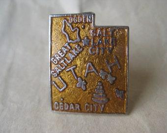 Utah Lapel Pin Enamel Orange-Yellow Silver Tie Tack Vintage Brooch