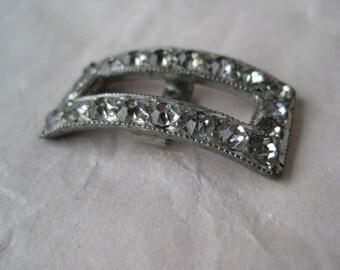 Rhinestone Buckle Vintage Clear Silver