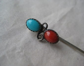 Turquoise Coral Silver Stick Pin Southwest Vintage