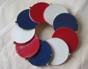 Red White Blue Circle Brooch Gold Vintage Pin