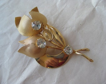 Flower Mother Mary Dangle Gold Rhinestone Brooch Vintage Clear Christian Catholic
