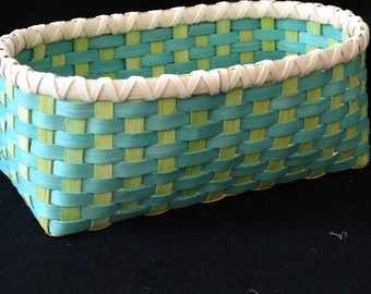 Hand Woven Basket in Turquoise and Chartreuse. Storage Basket. Rectangular Basket. Large Storage Basket. Handmade Baskets in fun colors!