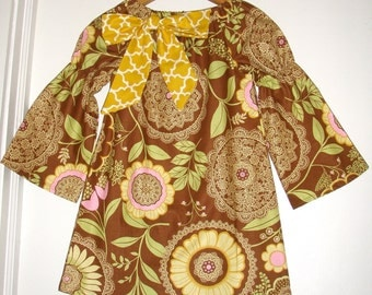 """Girls dress long sleeve fall brown Amy Butler """"Lotus""""  fabric sleeve peasant   tunic dress size 6 ready to ship"""