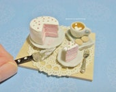 RESERVED Dollhouse Miniature Pink Layer Cake