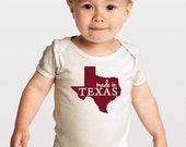 SALE Made in Texas -- Screenprinted American Apparel Organic Baby One-Piece