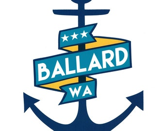 "Ballard Anchor -- Limited Edition 10""x8"" Screenprint"