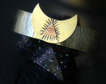 All Seeing Eye Bracelet, Illuminati, Eye of Providence Cuff, Hand Stamped, Crescent Moon, Alchemy, Magic, Pagan, Raw Gold Brass