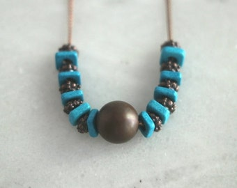 October Sale Antiqued Copper and Turquoise Necklace, Ceramic Beads, Mediterranean, Bohemian