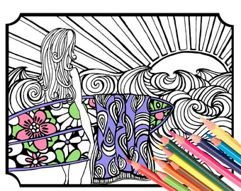 Surfer Girl Coloring Page - Digital Download Beach Art - A Colorful World Suf & Sun by Alexine and Lori Goldwag - Beach Adult Coloring Book