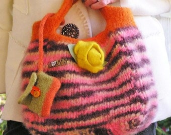 Felted Handbag in Yellow and Orange Variegated Yarn - Eating Popcorn at the Movies - Medium-sized