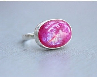 ON SALE Pink Rainbow Moonstone Ring - Cabochon ring - Bezel ring - Oval ring  - Gemstone ring - Gift for her