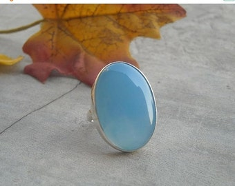 ON SALE Blue chalcedony ring - Blue ring - Oval stone ring - Bezel ring - Oval ring - Gemstone ring - Sterling silver - Gift for her