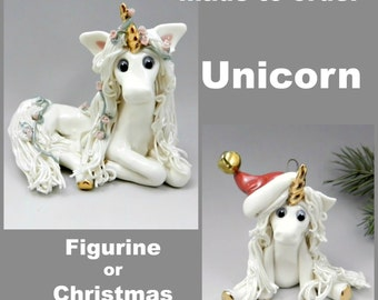 Unicorn Made to Order Christmas Ornament or Figurine OOAK Porcelain