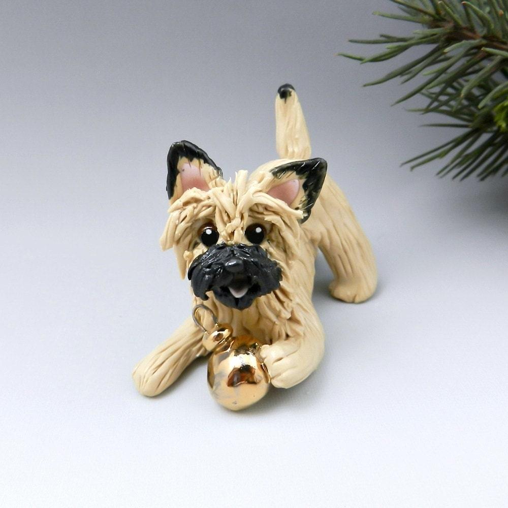 Cairn Terrier Wheaten Christmas Ornament Figurine Gold Ball