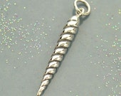 NEW - Realistic Unicorn Horn Necklace - Solid 925 Sterling Silver Charm - Free Domestic Shipping