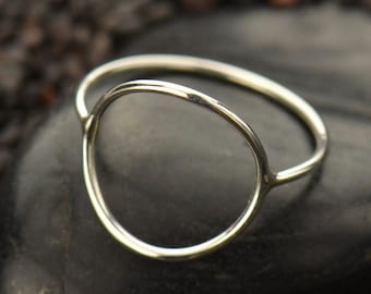Sterling Silver Open Circle Ring - Solid 925 - Insurance Included
