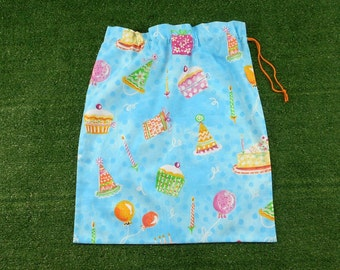 Birthday gift bag, large cotton drawstring bag, reusable gift bag or storage bag