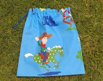 Library bag, large cotton drawstring bag, cowboy, for toys school storage
