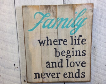 Family Pallet Sign, Pallet Sign, Family Wood Sign, Painted Wood Sign, Rustic Wall Hanging, Family Plaque, Family Wall Hanging,  FAM20