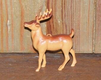 Vintage Brown Plastic Reindeer Deer Stag Figure Ornament