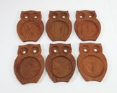 Vintage set of 6 owls wooden coasters owls coasters