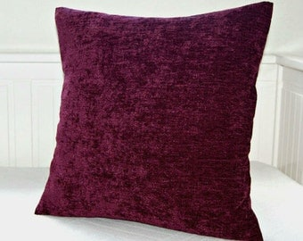 grape accent decorative pillow cover 16 inch, decorative cushion cover plum