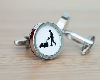 Lawn Mower on cufflinks - Lawn Mower cufflinks, Men's Cufflinks,  Husband, Wedding gift, Novelty cufflinks for him