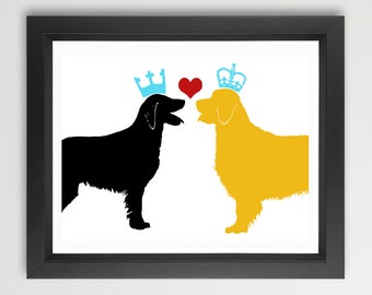 Golden Collie And Black Flatcoat Retriever Dogs Print, Dog Gift for Pet Lovers, Wall decor