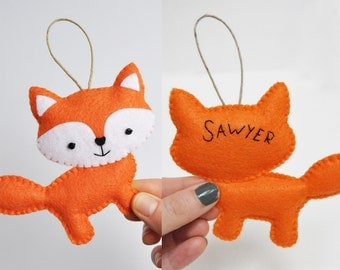 Personalized Orange Fox Christmas Ornament - Baby Shower - Party Favor