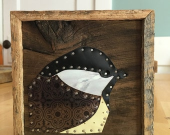 Black-capped Chickadee Tin Collage on Salvaged Wood