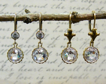 Deliah Earrings - Vintage Inspired 14k Gold Filled Leverback Earrings with Double Rose Cut CZ - Wedding or Bridesmaid Gift