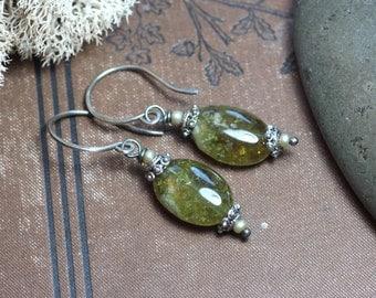 Green Garnet Earrings Green Gemstone Earrings Sterling Silver Grossular Garnet Rustic Jewelry