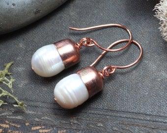 White Pearl Earrings Bullet Capped Copper Earrings Rustic Jewelry Pearl Earrings