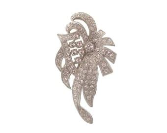 Art Deco Rhinestone Dress Clip, Antique Crystal Brooch Pin, Floral Motif, 1920s Art Deco Jewelry, Wedding Jewelry