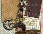 Steampunk Collage Sheet, Mixed Art, Altered Art Images, Junk Journal, Art Journaling, Decoupage Paper, Digital Download, CalicoCollage