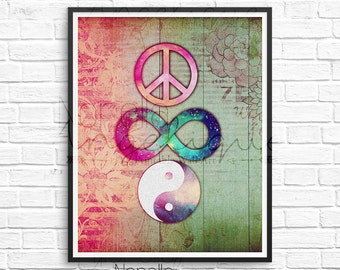 Peace Forever, Wall Art, Yin Yang Printable, Digital Download, Printable Wall Art, Digital Art, Instant Download, Boho Wall Art