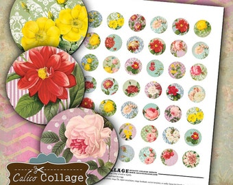 Shabby Chic Florals - Digital Collage Sheet Bottle Cap Images 1in Circles for Pendants Bezel Settings Magnets Decoupage Paper Calico Collage