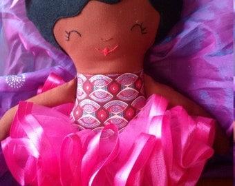 Misty green blue red gold pink African ballerina black soft fabric rag doll