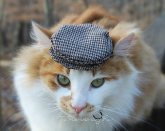 Ivy Cap for Cats - Flat Hat - Driving Hat - Newsboy Newsie cap, Gato Chapeau Golf cap, Jeff cap, Cheese-cutter
