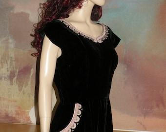 1950s KRAMER Original Black Velvet Embellished Wiggle Dress