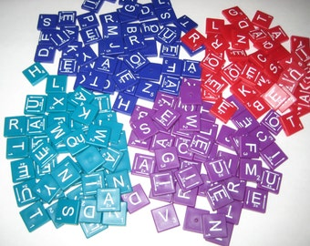 196  Square Colored Plastic Letter Tiles  - 4 Different Colors for Altered Art, Collage, Assemblage, Crafts, etc.