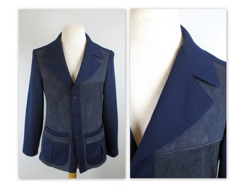 Vintage 60s Hipster Sweater Jacket S Dark Blue Knit with suede and Norfolk patch pockets
