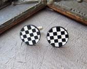 Men's Cufflink Jewerly BLACK & White Checkerborad ENAMEL industrial FUNKY