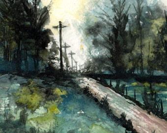 "Original landscape watercolor 8""x 10"" by Mary Beth Medley, green, aqua, pale blues"