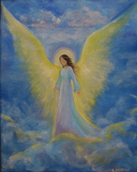Original acrylic painting healing energy angel 8 x for Angel paintings for sale