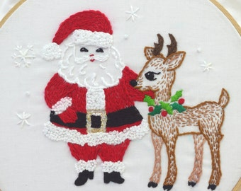 Santa Claus Embroidery Pattern Santa Embroidery Design Christmas Embroidery Design