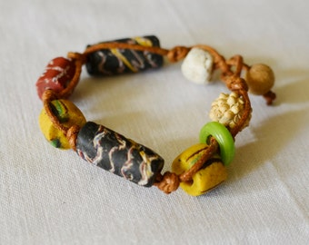 Antique African Trade and Stone Bead Bracelet Small Size