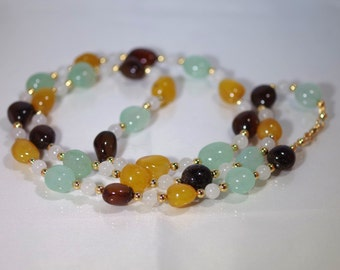 "Genuine Gemstone Jewelry - 3 Color Agate & Snow Quartz - Nugget Necklace - 32"" Long"