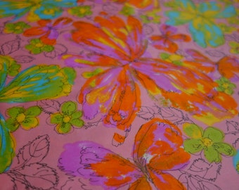 Vintage Butterfly Fabric, 1.9 Yards Vibrant Big Butterfly Design on Beautiful Cotton Sateen Fabric with Cohama Set Finish, Butterfly Print